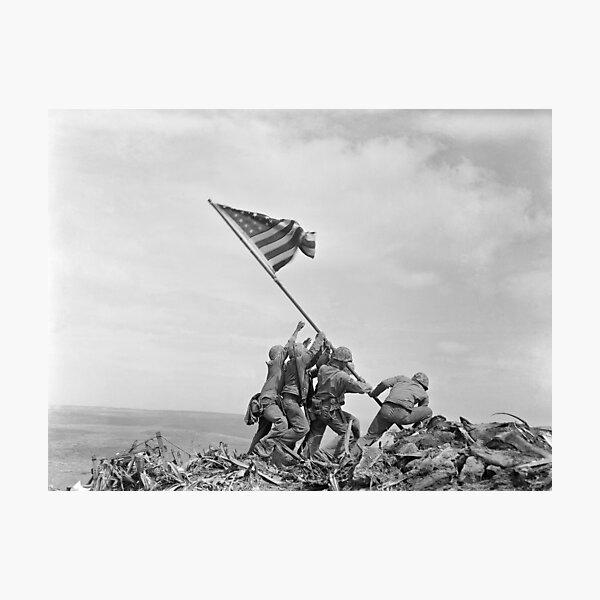 Raising the Flag on Iwo Jima - WW2 - 1945 Photographic Print