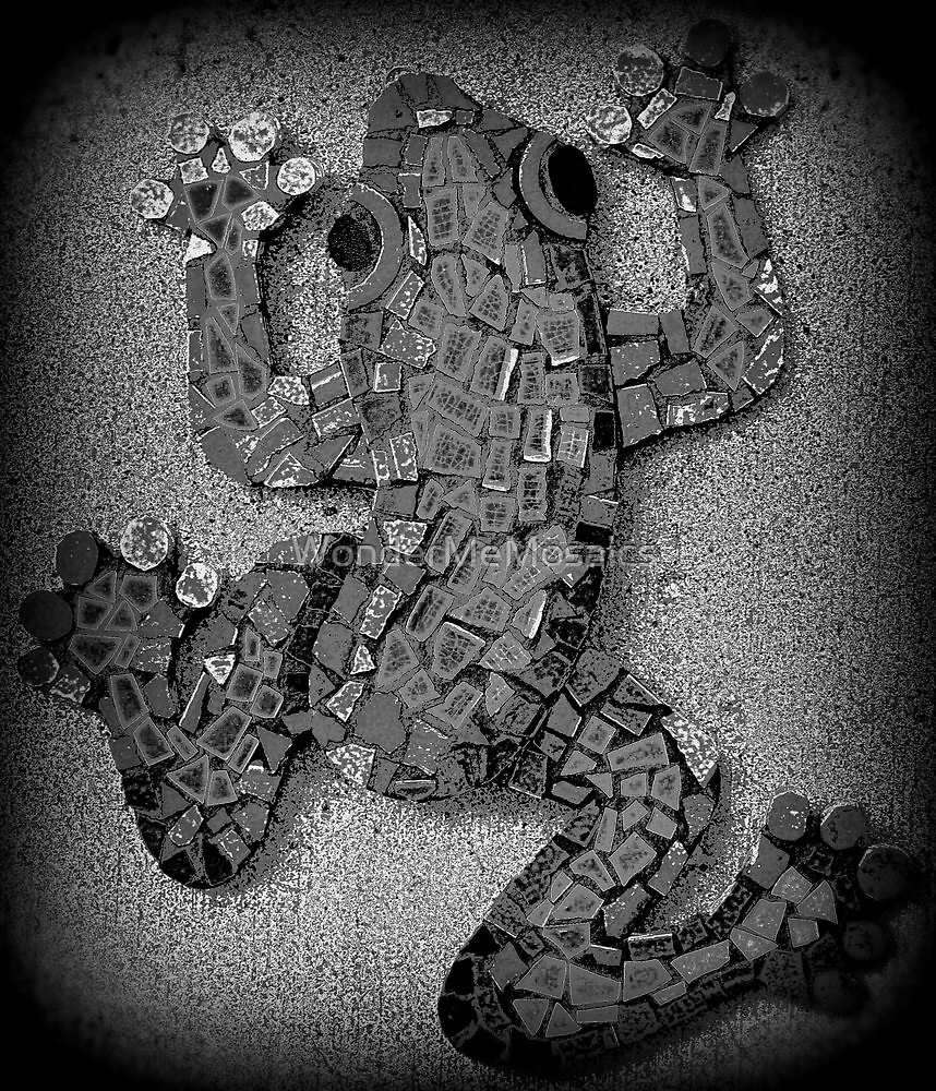 Climbing Black & White Mosaic Frog by WonderMeMosaics