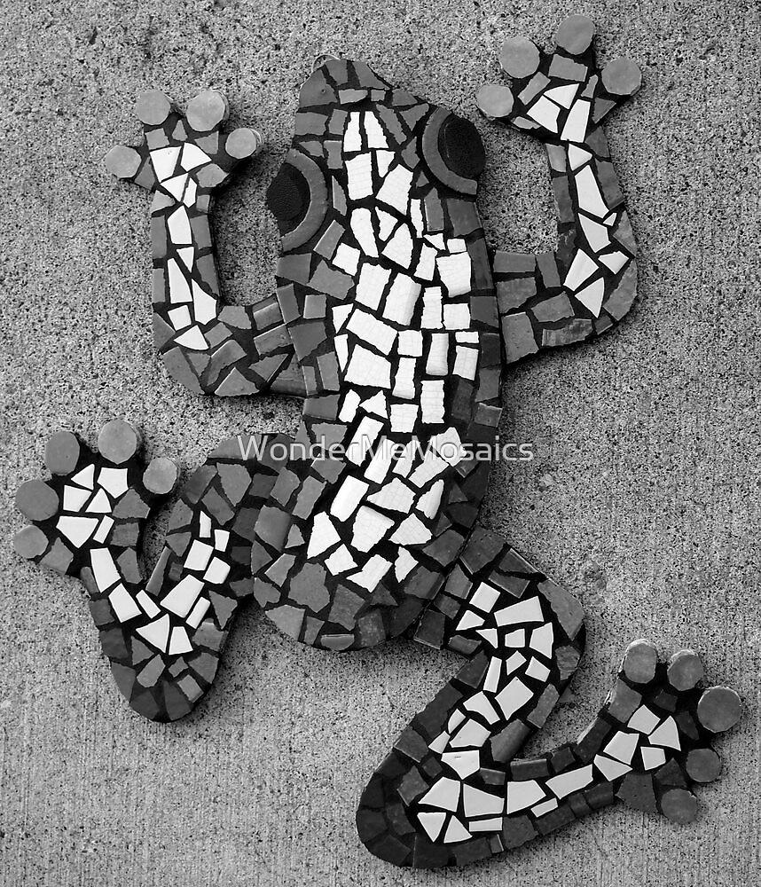 Simple Black & White Mosaic Frog by WonderMeMosaics
