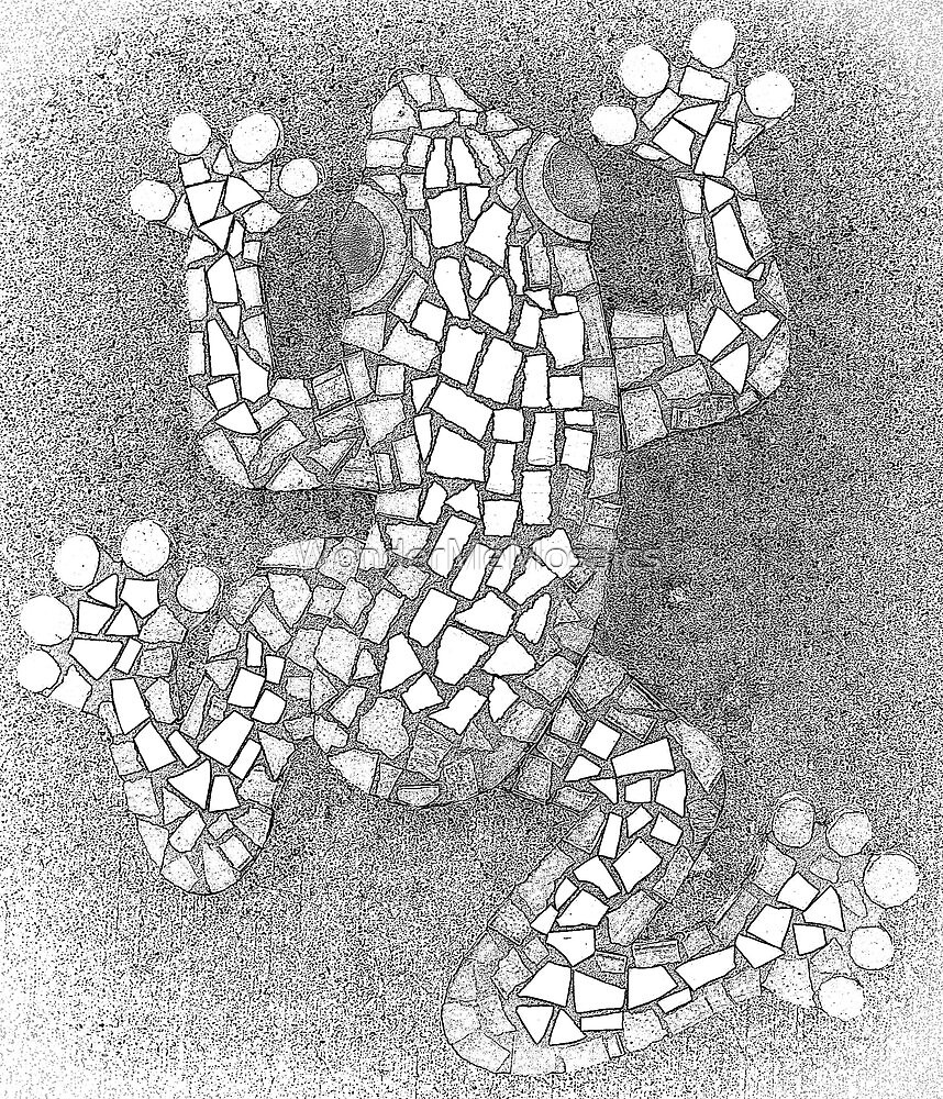 Black & White Mosaic Frog Drawing by WonderMeMosaics