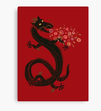 Dragon, Flower Breathing Canvas Print