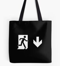 Running Man Emergency Exit Sign, Right Hand Down Arrow Tote Bag