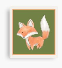 Cute Little Fox Painting Canvas Print
