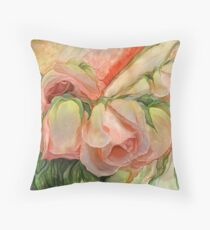 Miracle Of A Rose Bud - Peach Throw Pillow
