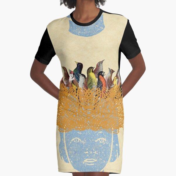 Bird nest head Graphic T-Shirt Dress