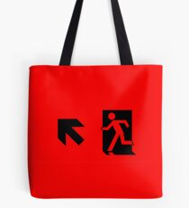 Running Man Emergency Exit Sign, Left Hand Diagonally Up Arrow Tote Bag