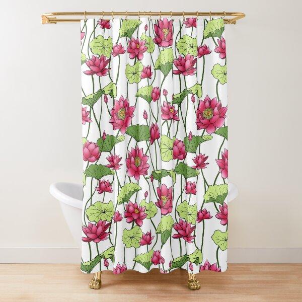 Retro Lotusblumen und Blattdesign Duschvorhang