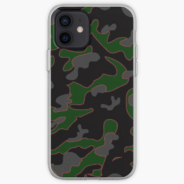 Camo vert sombre avec ligne orange Coque souple iPhone