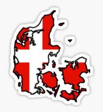 Denmark Map With Danish Flag Sticker
