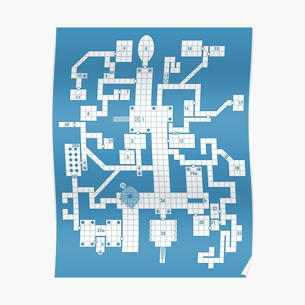 Old School Blue Dungeon Map Poster