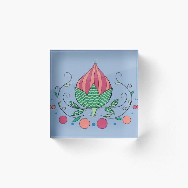 Whimsical Flower Bud Acrylic Block