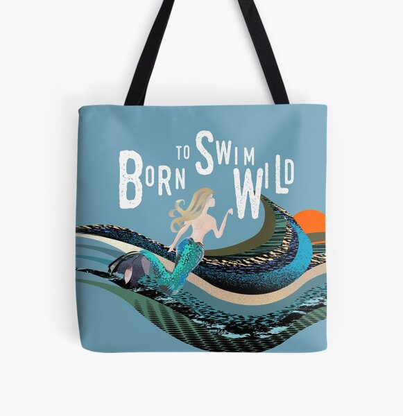 Calling all wild open water swimming, winter bathers.  Born to swim mermaid design for swimmer lovers. All Over Print Tote Bag