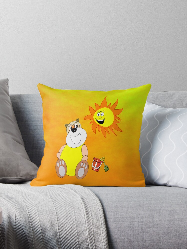 Big Bear on the Beach - pillow & tote by Dennis Melling