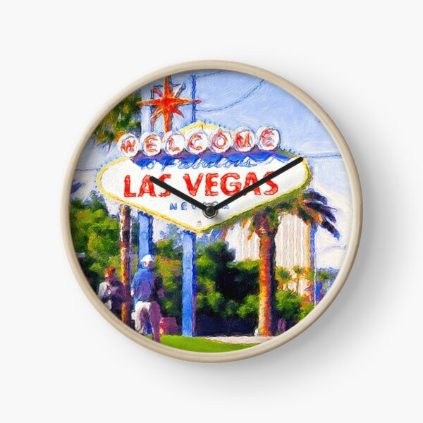 Welcome To Fabulous Las Vegas sign, painting Clock