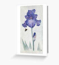 Blue Iris with Bee Greeting Card