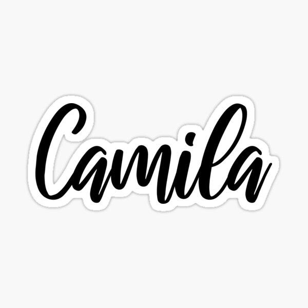 Caligrafía de escritura a mano del nombre de Camila Pegatina