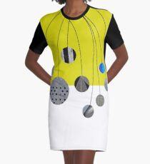 Cascading Orbits (Yellow) Graphic T-Shirt Dress