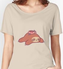 Tea Flower Sloth Women's Relaxed Fit T-Shirt