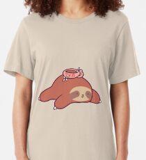 Tea Flower Sloth Slim Fit T-Shirt