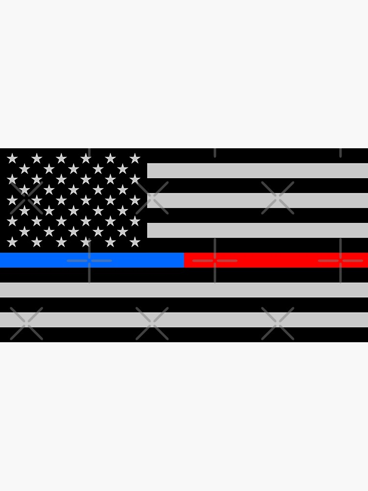 Thin Blue Red Line Flag / Police + Firefighter / USA American Flag (Gray) by thin-line