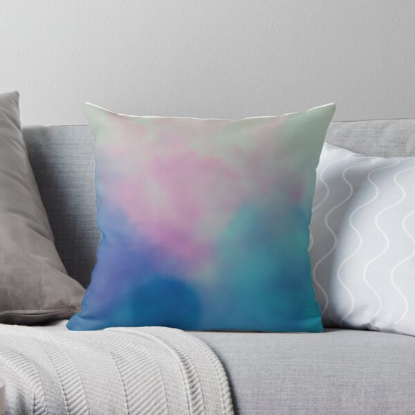 Shades of Blue and Pink Throw Pillow