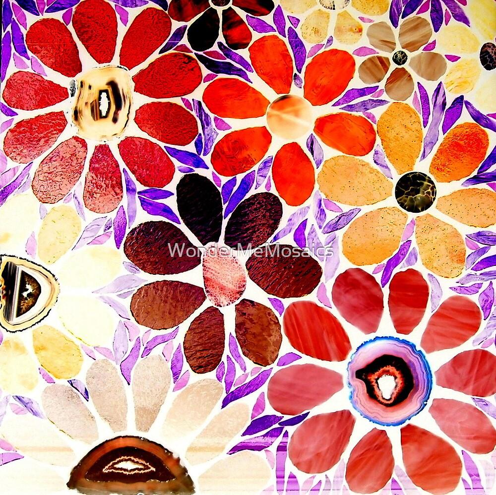 Garden of Red / Yellow Flowers - Mosaics by WonderMeMosaics