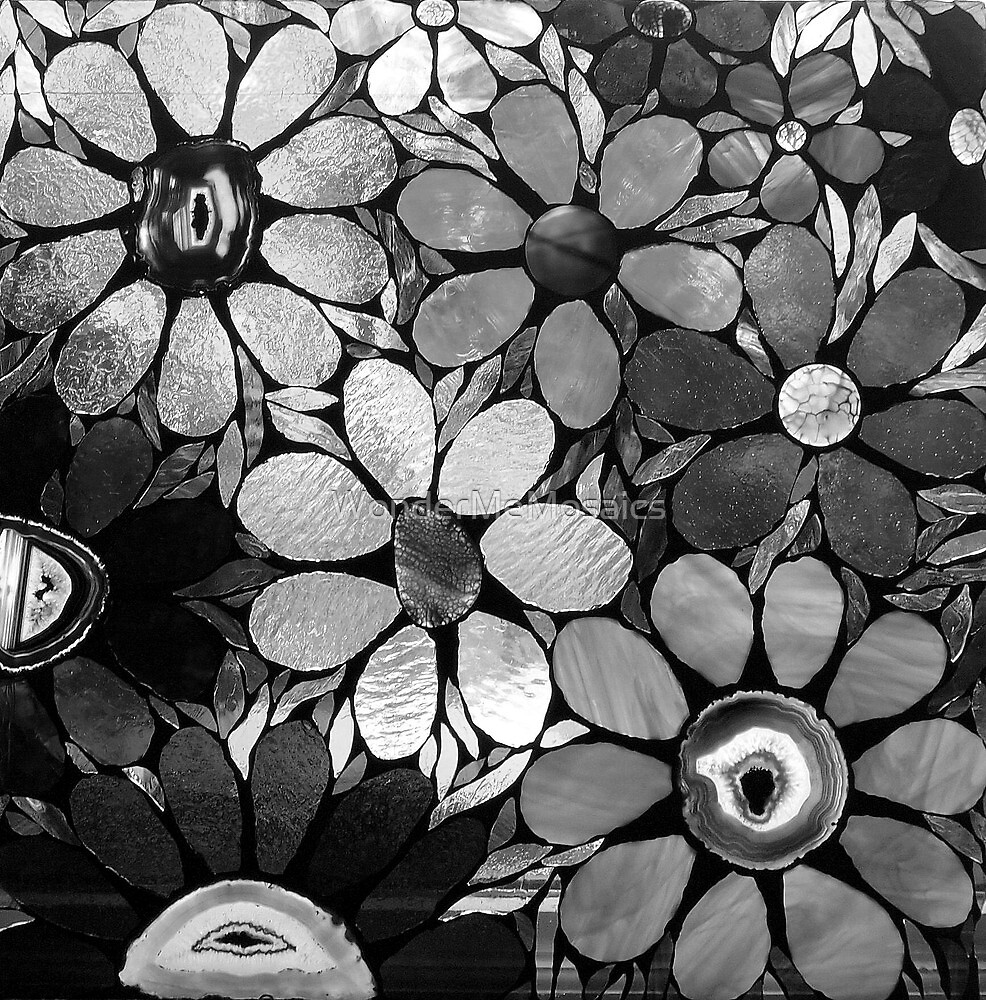 Black & White Mosaic Garden by WonderMeMosaics