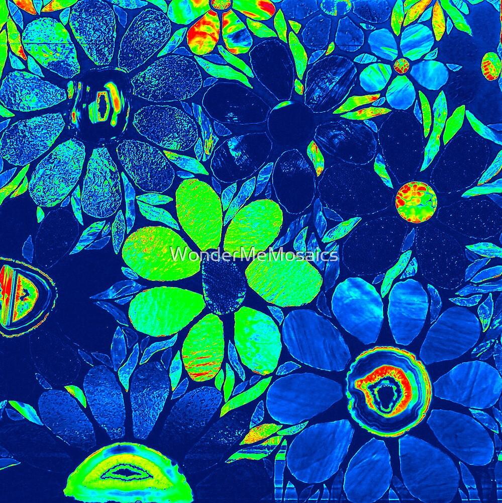 Psychedelic Neon / Green Garden of Flowers - Mosaics by WonderMeMosaics