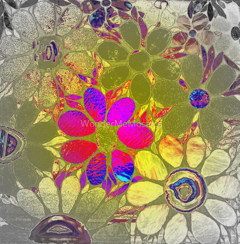 Psychedelic Garden of Flowers - Mosaics by WonderMeMosaics