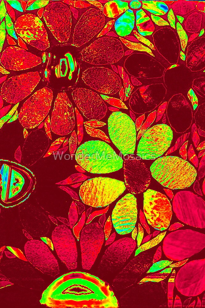Psychedelic Red Garden of Flowers - Mosaics by WonderMeMosaics
