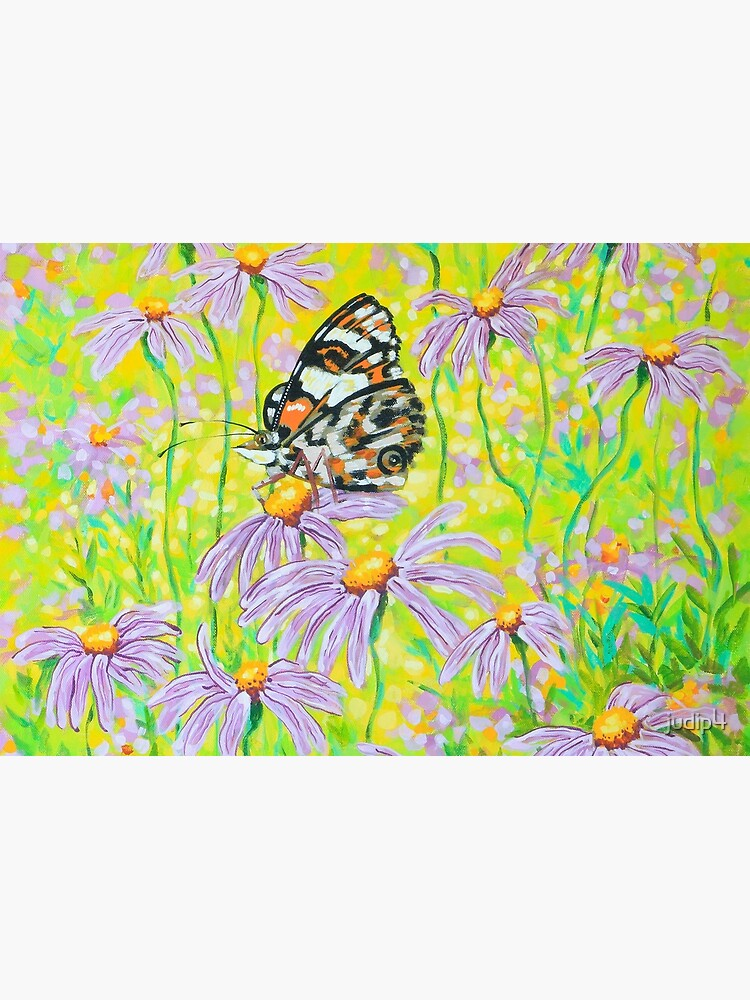 Happiness is a Butterfly Sitting in a Flower Patch by judip4
