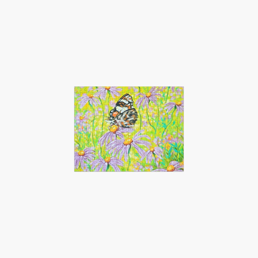 Happiness is a Butterfly Sitting in a Flower Patch Jigsaw Puzzle