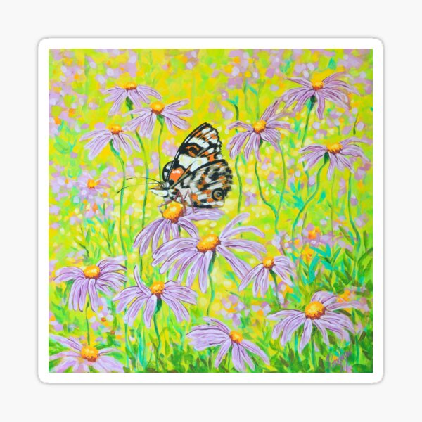 Happiness is a Butterfly Sitting in a Flower Patch Sticker