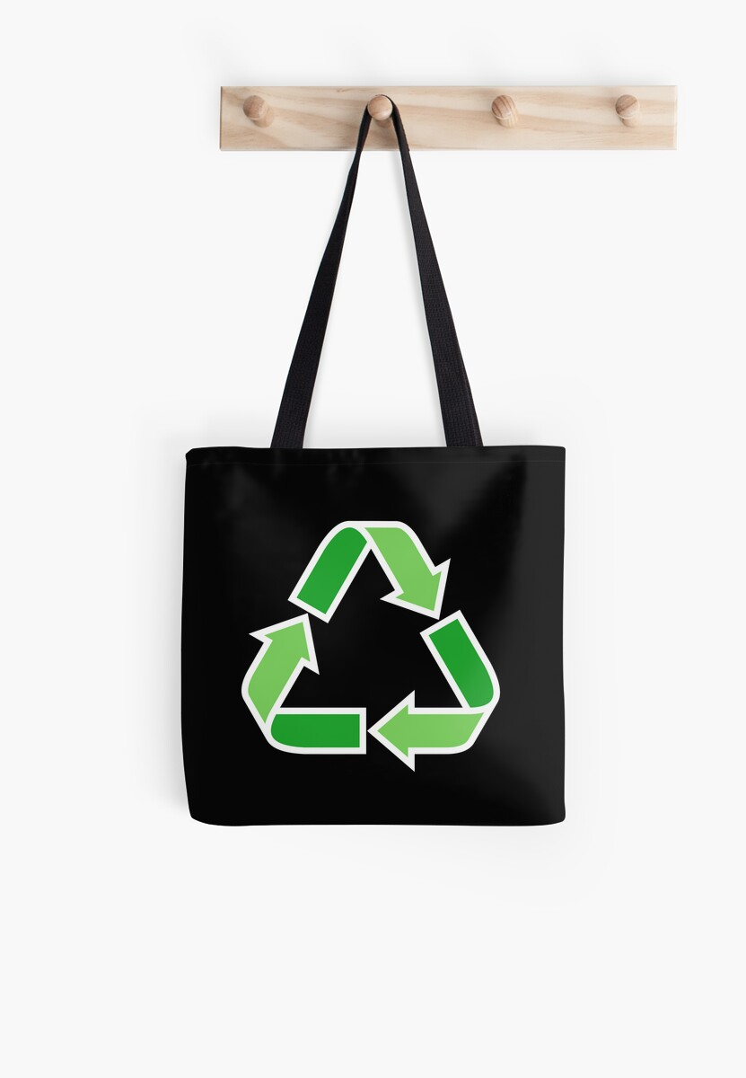 Green recycling symbol on black background tote bag by Mhea
