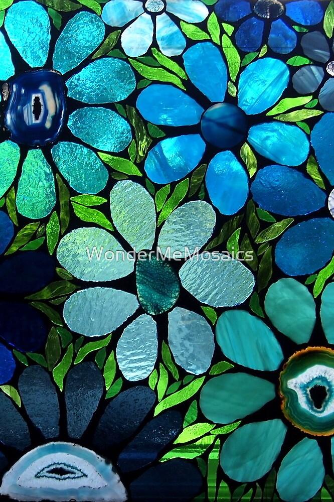 Garden of Blue Flowers - Mosaic Art by WonderMeMosaics