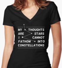 """""""my thoughts are """"  quote black Women's Fitted V-Neck T-Shirt"""