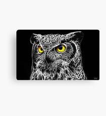 Painted Fractal Owl Canvas Print