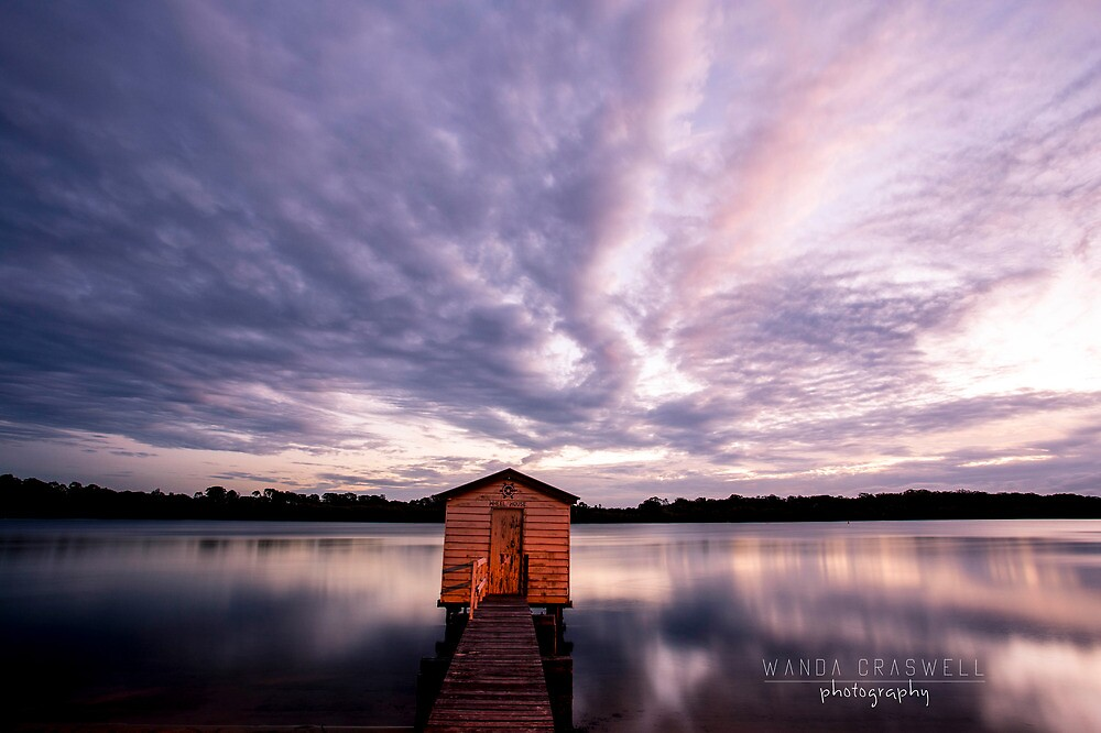 Tiny boathouse at dawn: Maroochy River, Queensland by Wanda Craswell