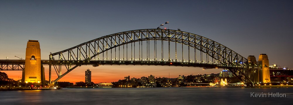 Sunset over Sydney Harbour Bridge by Kevin Hellon