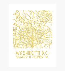 Washington DC Map  Photographic Print