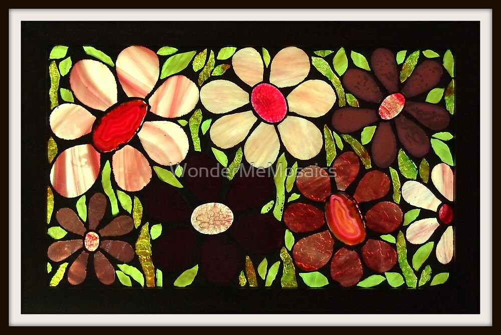 Garden of Pink Flowers - Mosaic Art by WonderMeMosaics
