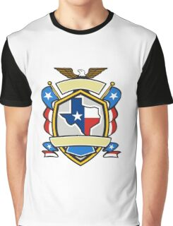 Texas State Map Flag Coat of Arms Retro Graphic T-Shirt
