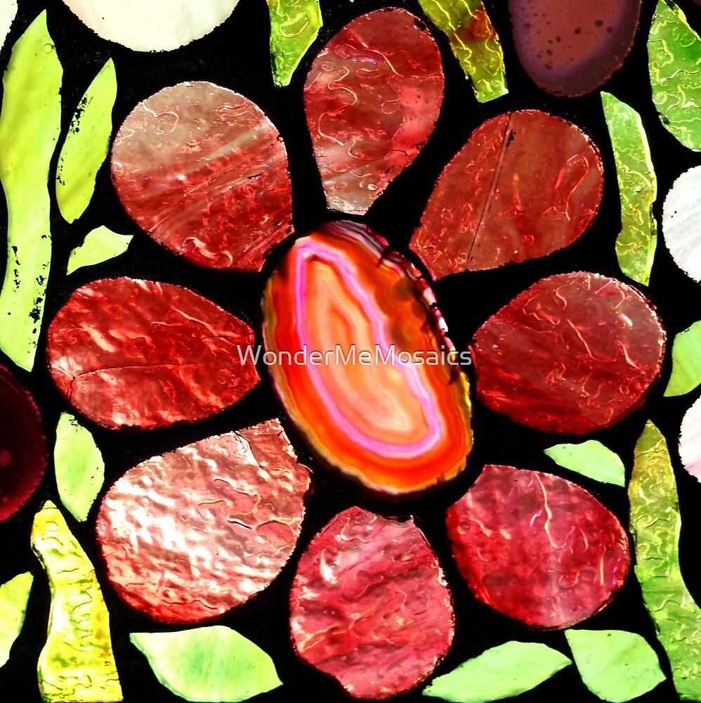 Pink Agate Flower - Mosaic Art by WonderMeMosaics