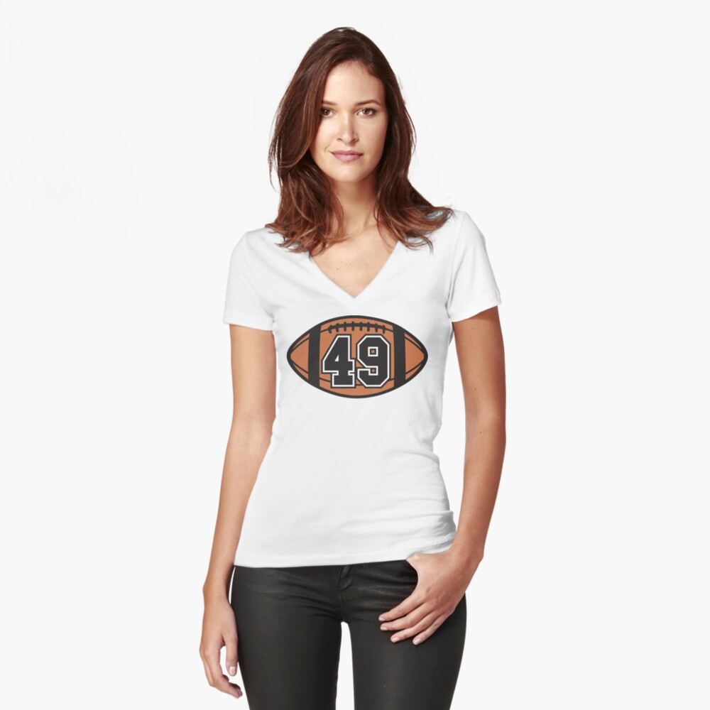 Football 49 Women's Fitted V-Neck T-Shirt Front