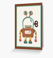 Cute Retro Wind-up Robot Toy Greeting Card