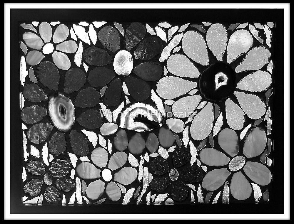 Flower Garden in B&W - Mosaic Art by WonderMeMosaics