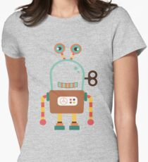 Cute Retro Wind-up Robot Toy Womens Fitted T-Shirt