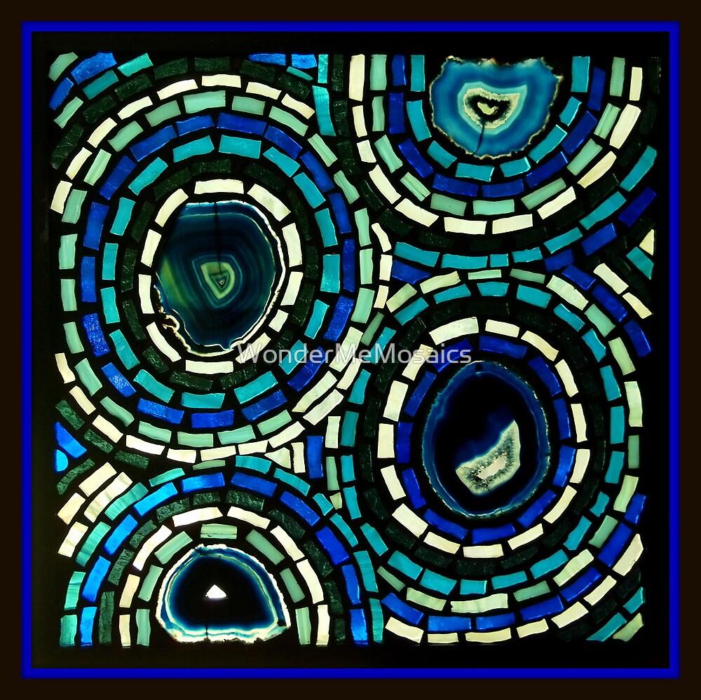 Stained Glass Blue Circles - Mosaic Art by WonderMeMosaics