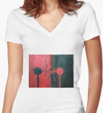 Round head series # 3 in Red & Black  Women's Fitted V-Neck T-Shirt