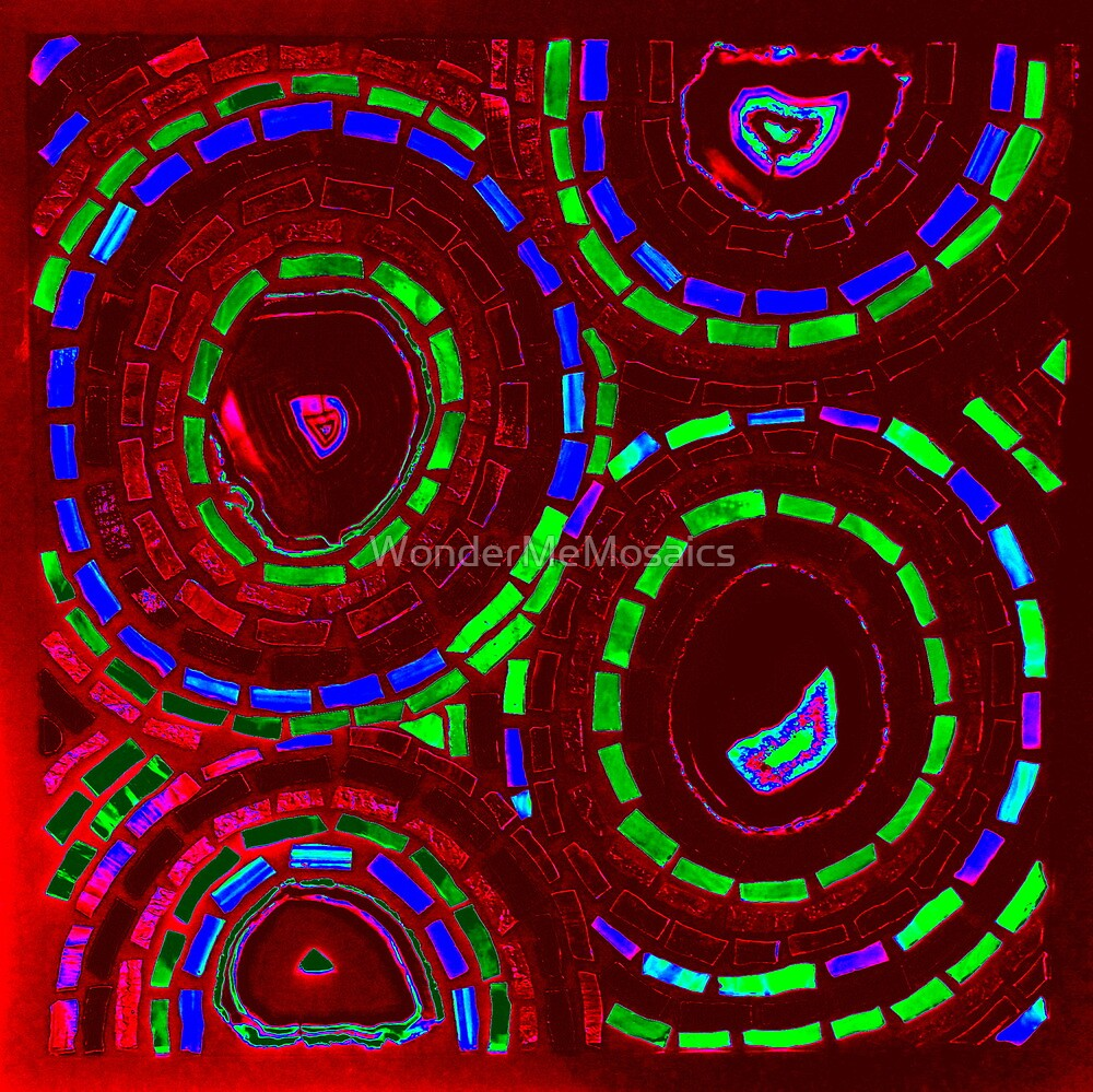 Stained Glass Psychedelic Red Circles - Mosaic Art by WonderMeMosaics